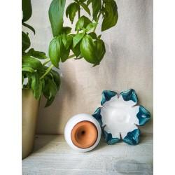 polikala.com ceramika z Krety, Laventzakis ceramics, kolor: turkus z bielą
